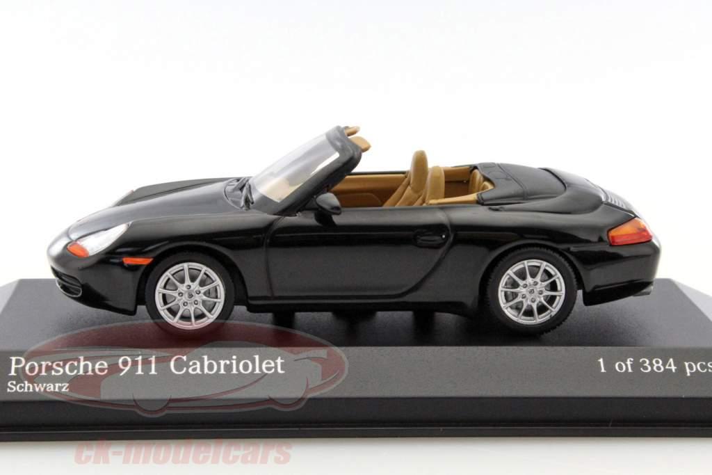 Porsche 911 Cabriolet jaar 1998 zwart metallic 1:43 Minichamps