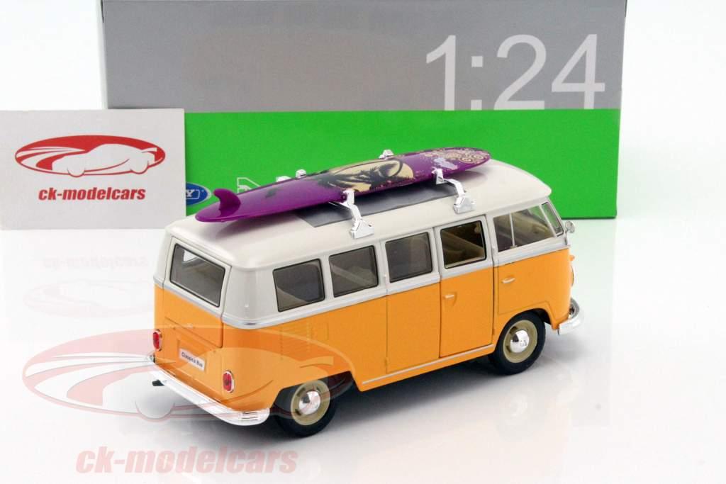 Volkswagen VW Classic Bus avec planche de surf année de construction 1962 jaune / blanc 1:24 Welly