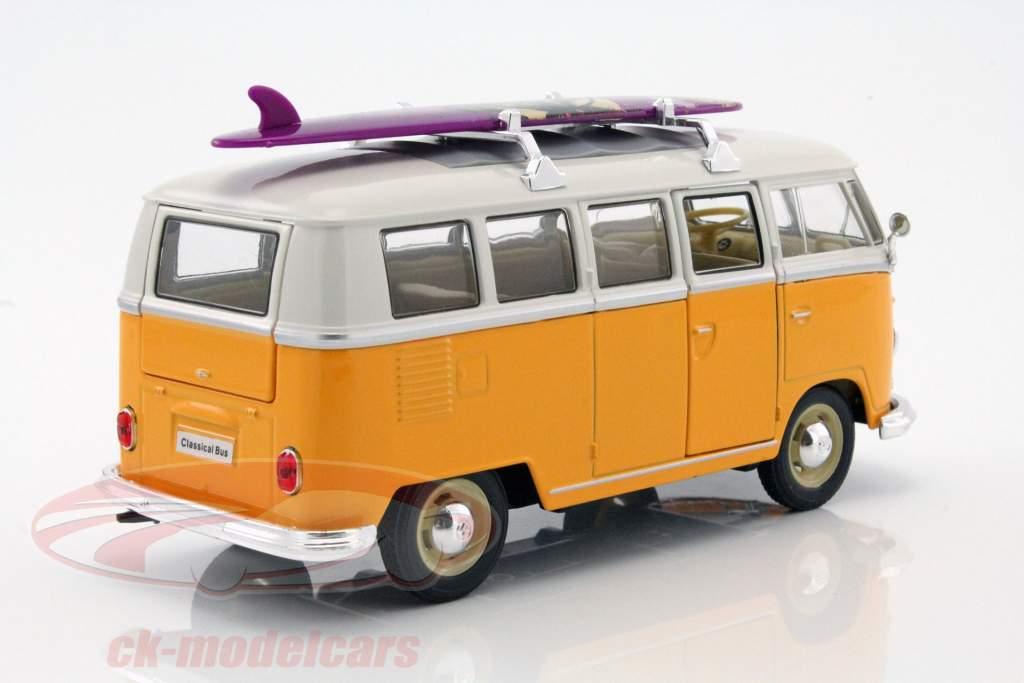 Volkswagen VW Classic Bus med surfbræt Opførselsår 1962 gul / hvid 1:24 Welly