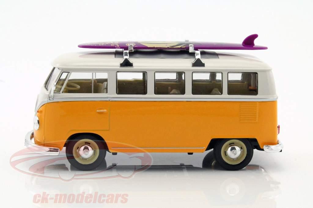 Volkswagen VW Classic Bus com prancha de surfe ano de construção 1962 amarelo / branco 1:24 Welly
