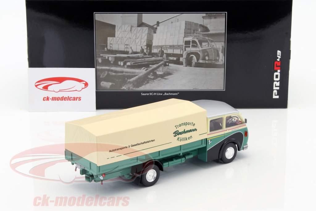 Saurer 3C-H Lkw Bachmann verde / bege / prata 1:43 Schuco