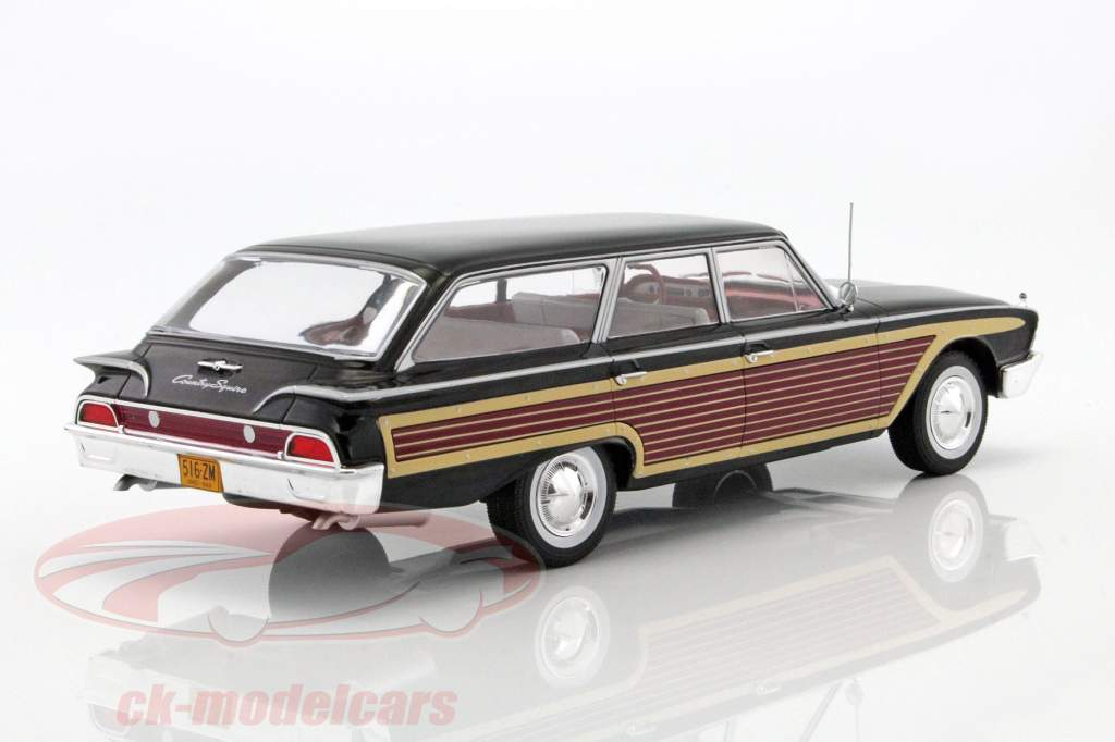 Ford Country Squire com olhar de madeira preto 1:18 Model Car Group