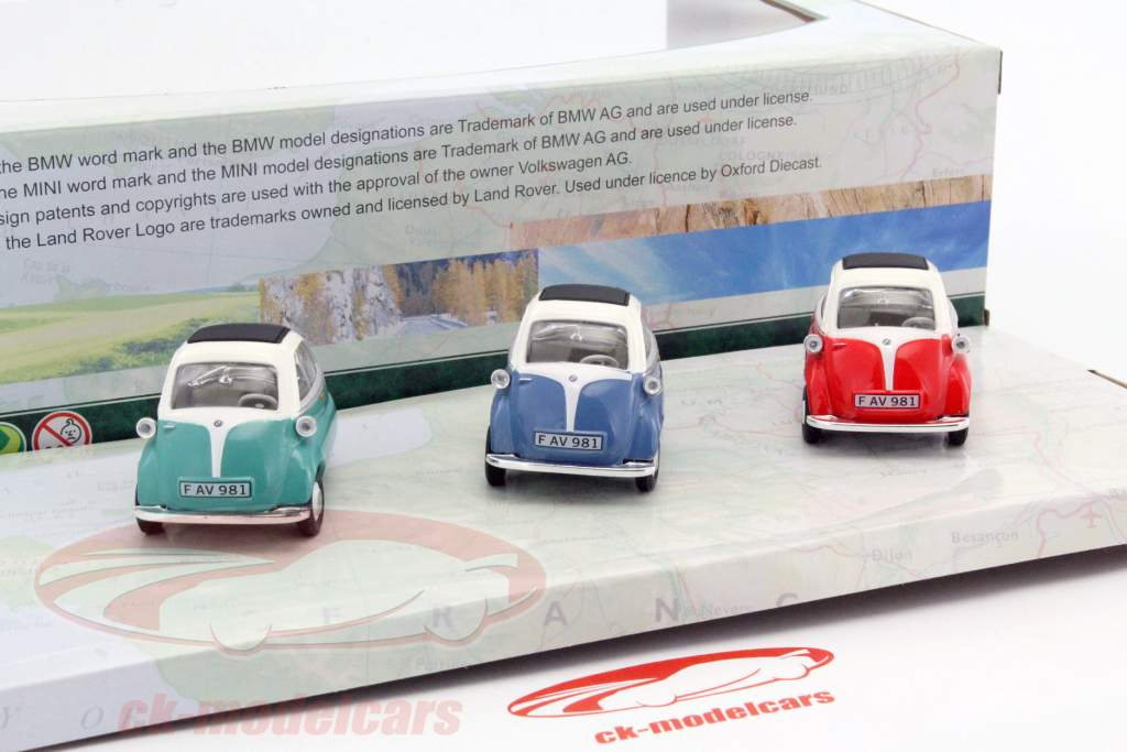 3-Car Set BMW Isetta blauw / rood / groen 1:43 Cararama