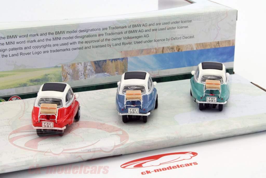 3-Car Set BMW Isetta blue / red / green 1:43 Cararama