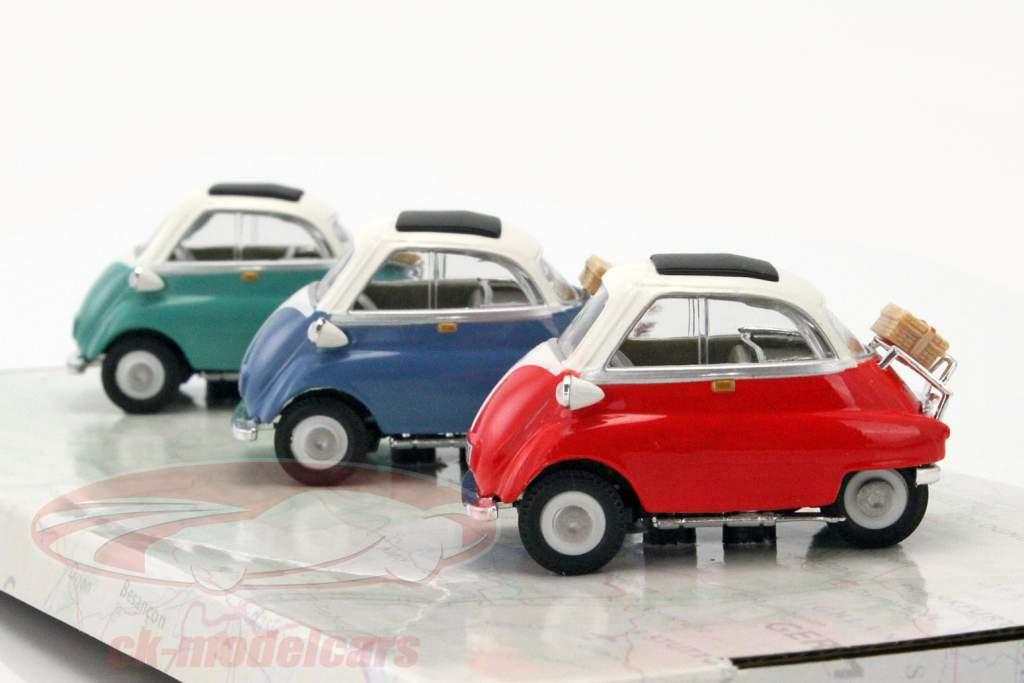 3-Car Set BMW Isetta blu / rosso / verde 1:43 Cararama