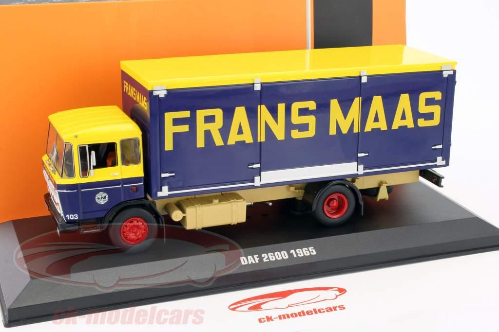 DAF 2600 Frans Maas ano de construção 1965 amarelo / azul escuro 1:43 Ixo