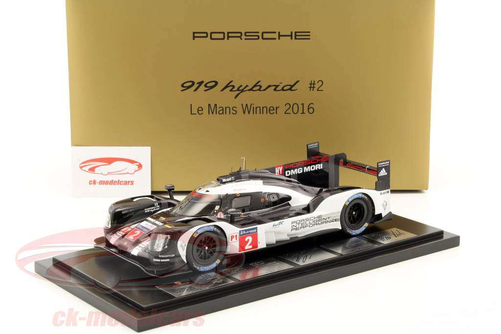 Porsche 919 Hybrid #2 Vinder 24h LeMans 2016 Lieb, Dumas, Jani med udstillingsvindue 1:18 Spark