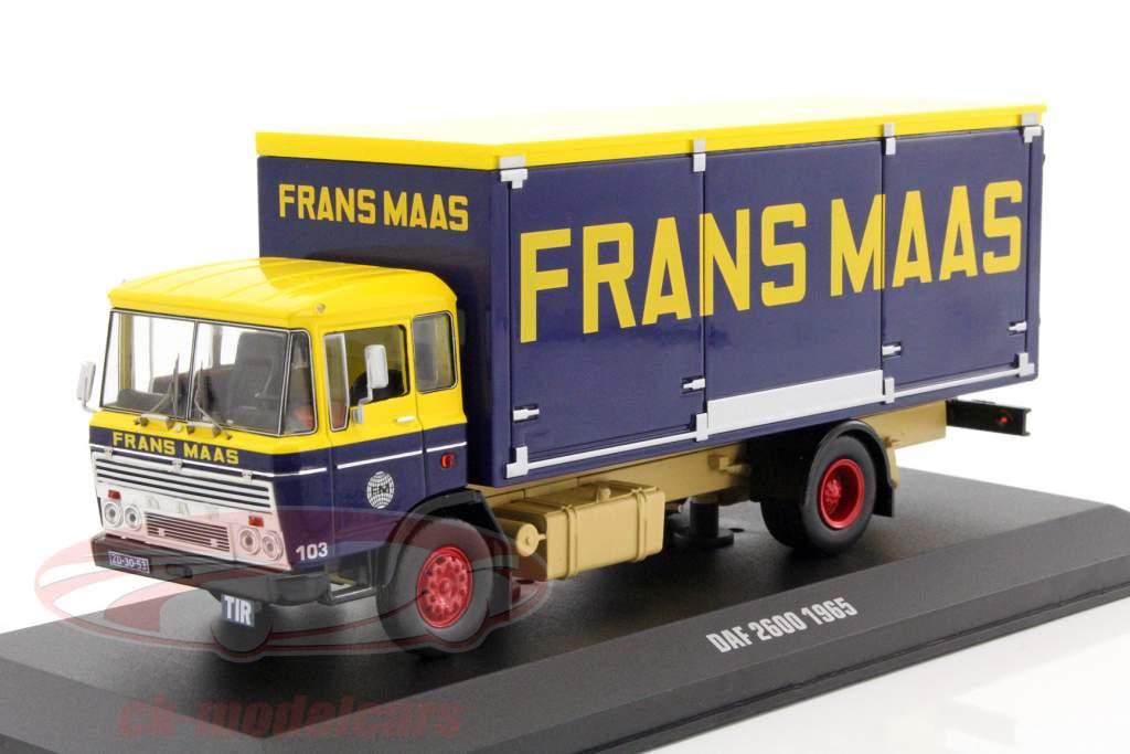 DAF 2600 Frans Maas année de construction 1965 jaune / bleu foncé 1:43 Ixo