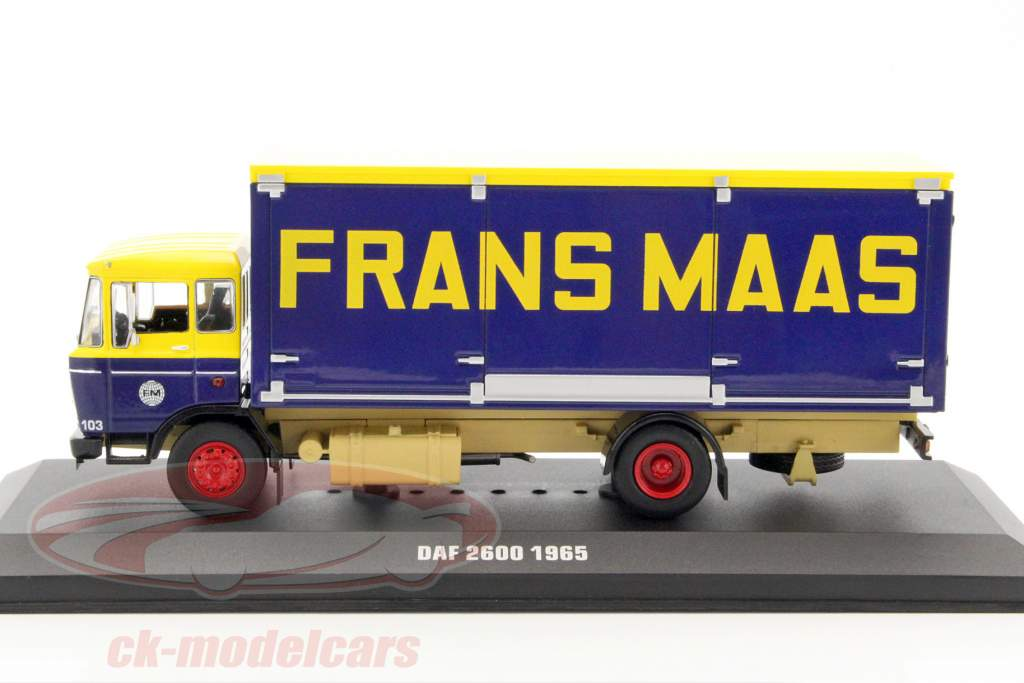 DAF 2600 Frans Maas Opførselsår 1965 gul / mørkeblå 1:43 Ixo