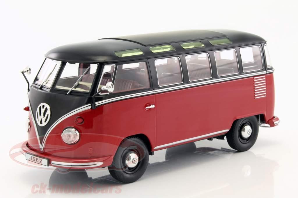 Volkswagen VW Bulli T1 Samba år 1962 rød / sort 1:18 KK-Scale