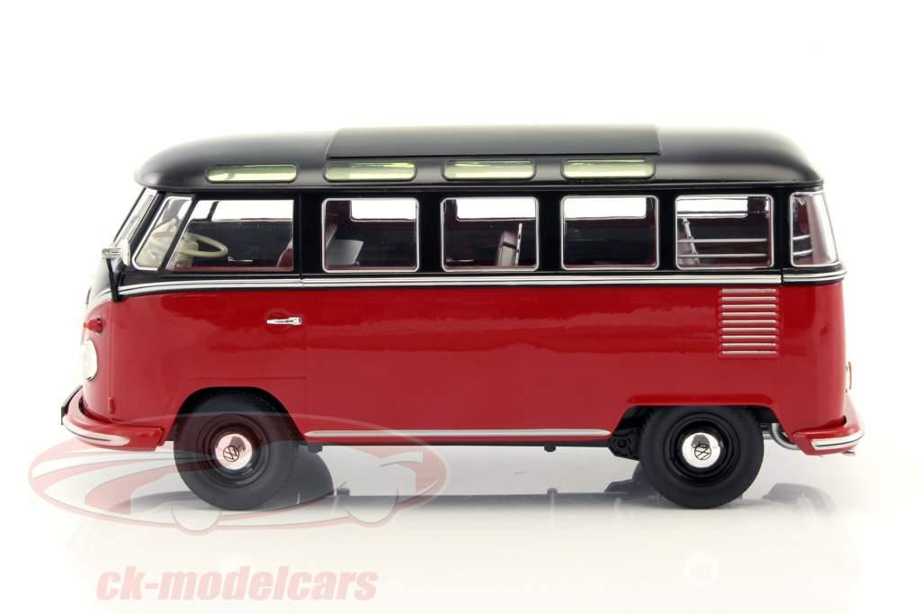 Volkswagen VW Bulli T1 Samba año 1962 rojo / negro 1:18 KK-Scale