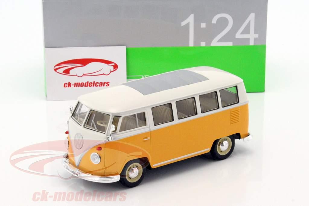 Volkswagen VW T1 autobus anno 1963 giallo / bianco 1:24 Welly