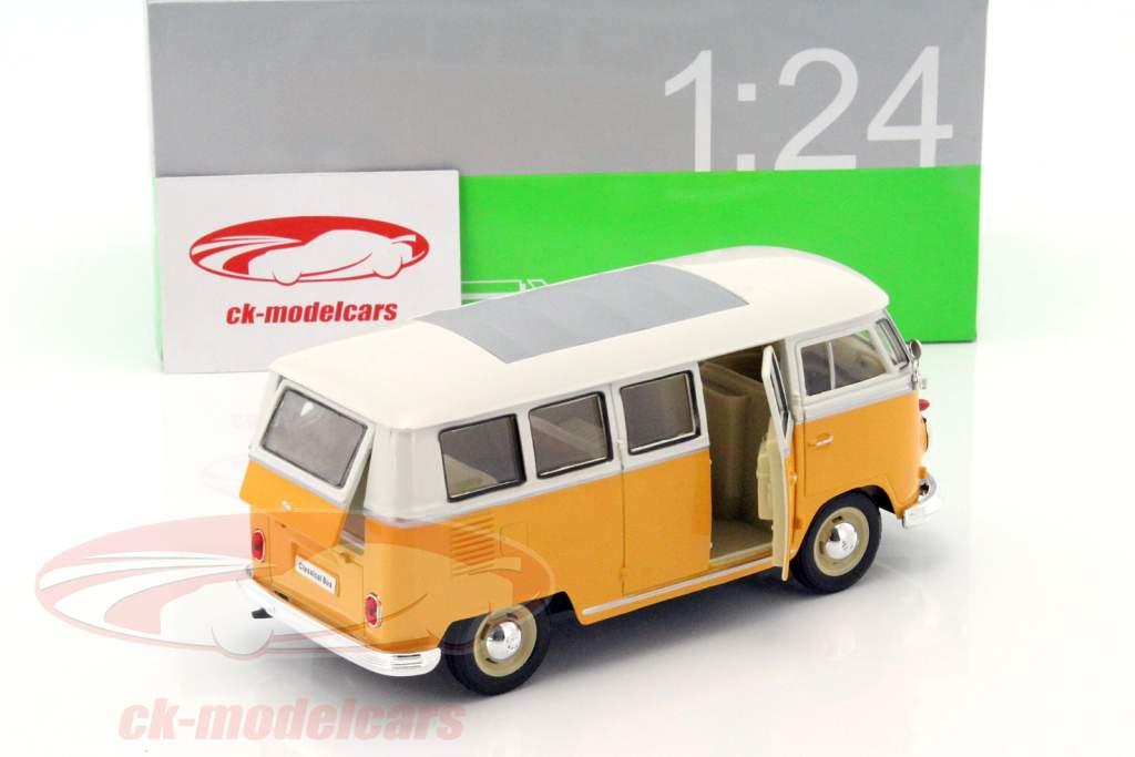 Volkswagen VW T1 ônibus ano 1963 amarelo / branco 1:24 Welly