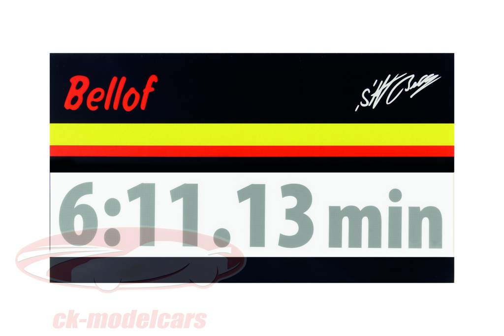 Stefan Bellof Aufkleber Rekordrunde 6:11.13 min silber 120 x 25 mm