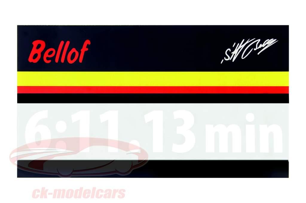 Stefan Bellof sticker giro record 6:11.13 min bianco 120 x 25 mm