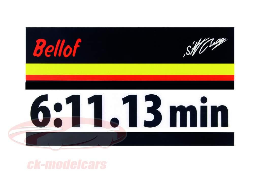 Stefan Bellof Aufkleber Rekordrunde 6:11.13 min schwarz 120 x 25 mm