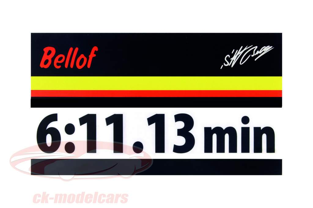 Stefan Bellof autocollant record du tour 6:11.13 min noir 120 x 25 mm