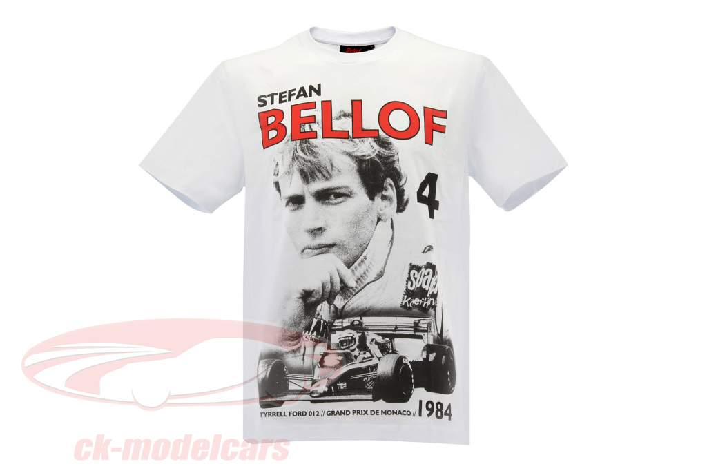 Stefan Bellof T-shirt Podium GP Monaco 1984 hvid / rød / sort