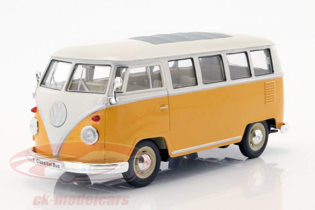 Volkswagen VW T1 bus jaar 1963 geel / wit 1:24 Welly