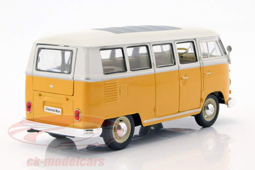 Volkswagen VW T1 bus year 1963 yellow / White 1:24 Welly