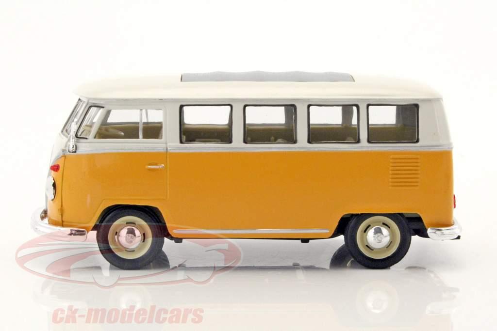 Volkswagen VW T1 bus år 1963 gul / hvid 1:24 Welly