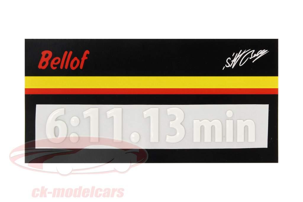 Stefan Bellof 3D adesivo colo recorde 6:11.13 min branco 120 x 25 mm