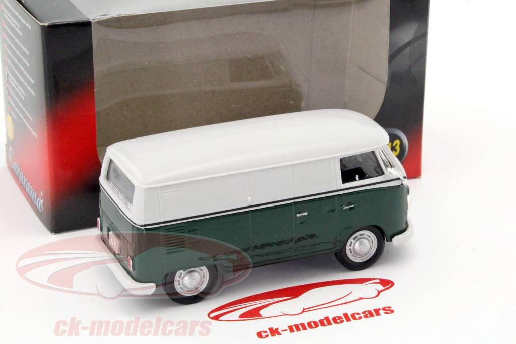 Volkswagen VW T1 van mørkegrøn / hvid 1:43 Cararama