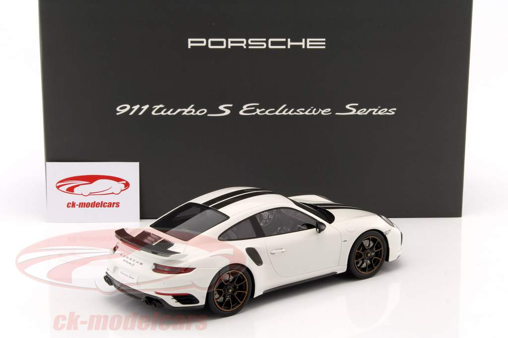 Porsche 911 (991) Turbo S Exclusive Series 白色, 黑色 用 展示柜 1:18 Spark