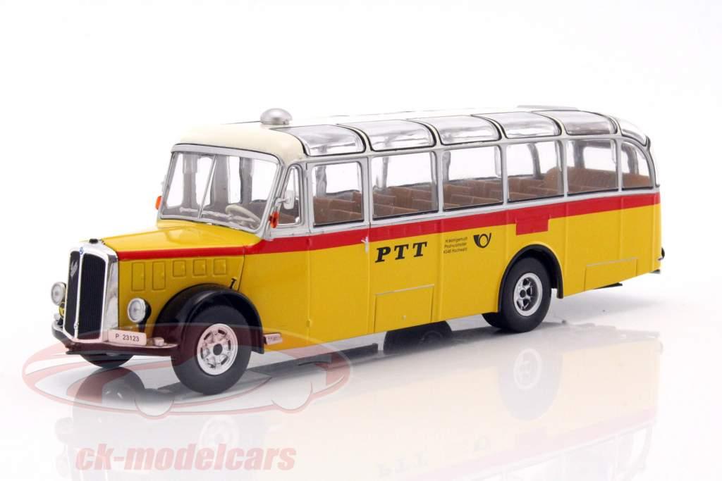 Saurer L4C Bus Bouwjaar 1959 geel / rood / zilver 1:43 Ixo