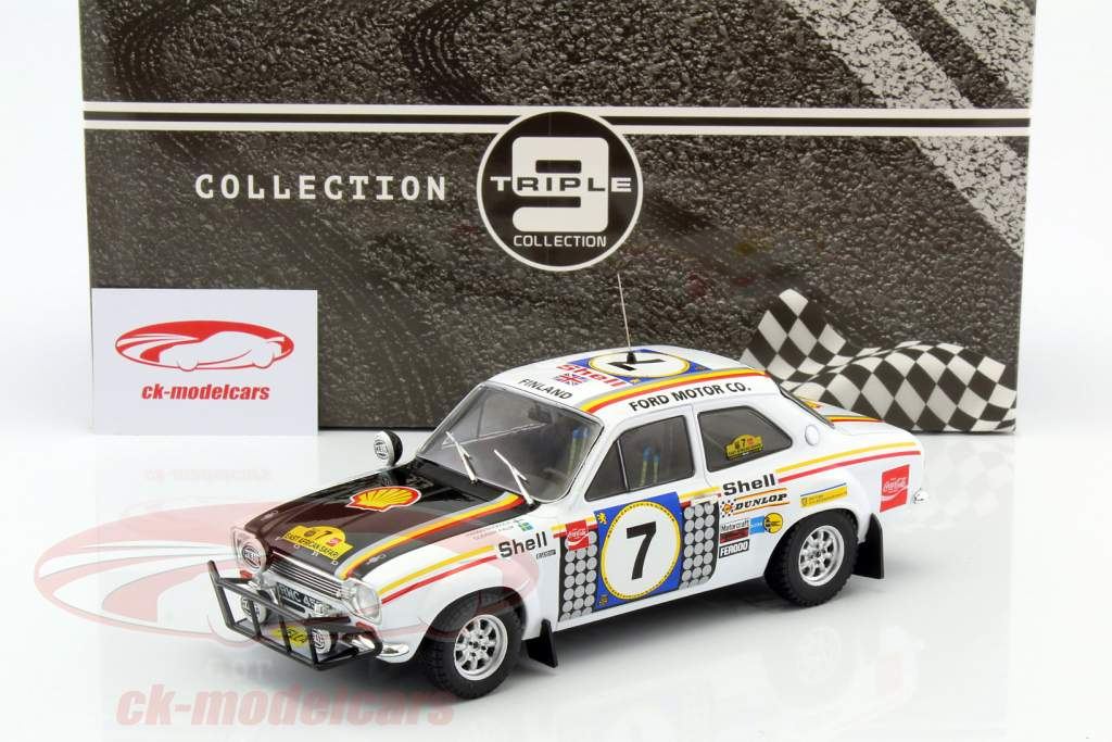 Ford Escort MK 1 RS 1600 #7 winnaar Safari Rallye 1972 Mikkola, Palm 1:18 Triple9