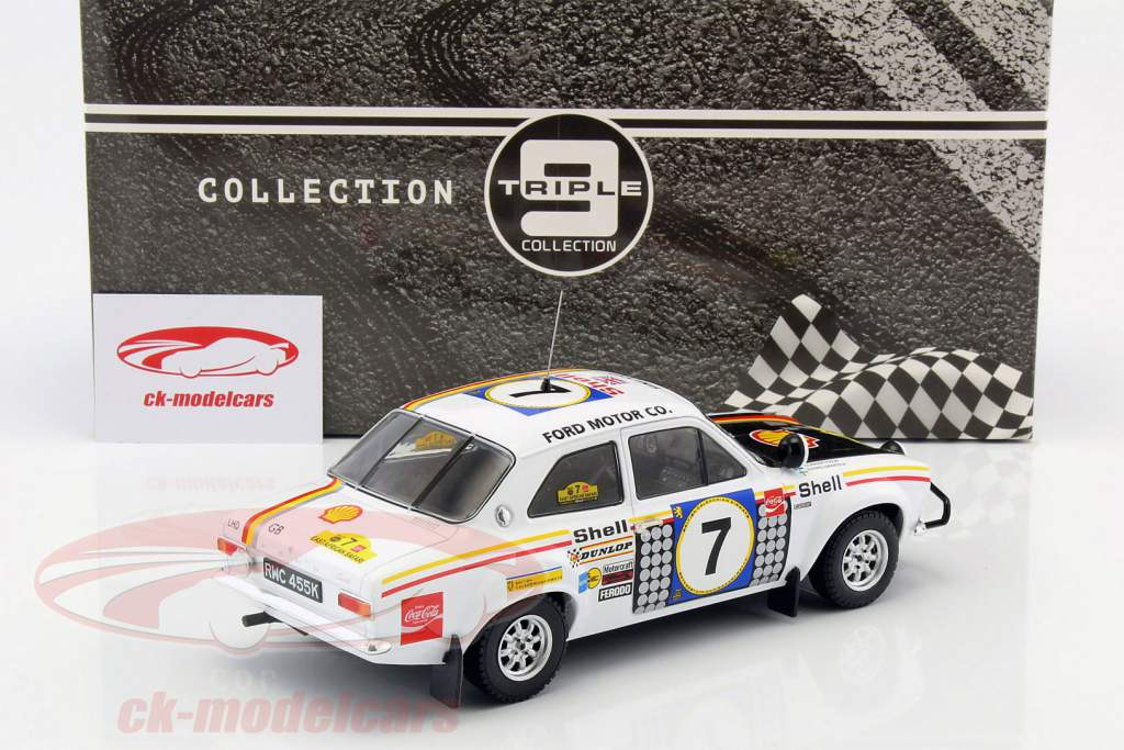 Ford Escort MK 1 RS 1600 #7 gagnant Safari Rallye 1972 Mikkola, Palm 1:18 Triple9