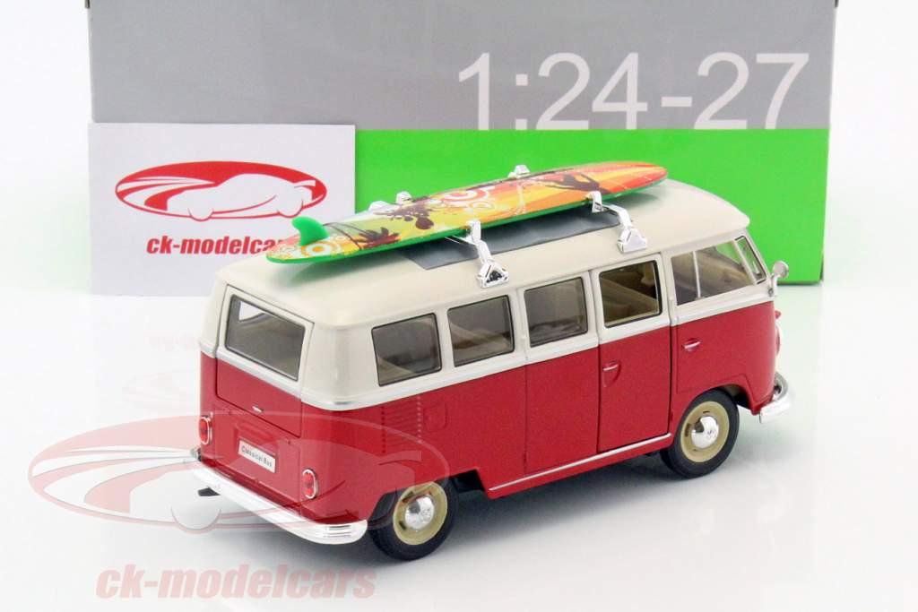 Volkswagen VW T1 Bus año de construcción 1963 con tabla de surf rojo / blanco 1:24 Welly