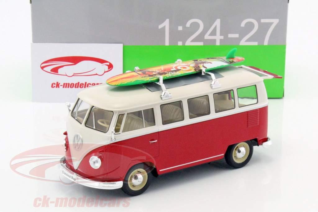 Volkswagen VW T1 Bus Opførselsår 1963 med surfbræt rød / hvid 1:24 Welly