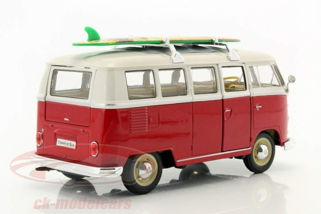 Volkswagen VW T1 Bus année de construction 1963 avec planche de surf rouge / blanc 1:24 Welly