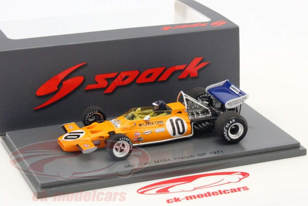 spark 1:43 peter gethin mclaren m19a #10 frankrijk gp formule 1 1971