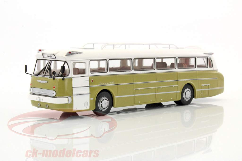 Ikarus 66 ônibus ano de construção 1972 branco / brilhante oliva 1:43 Ixo