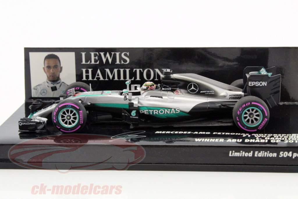 Lewis Hamilton Mercedes F1 W07 Hybrid #44 ganador Abu Dhabi GP fórmula 1 2016 1:43 Minichamps