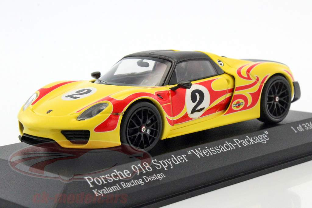 Porsche 918 Spyder Weissach Package Kyalami Racing Design year 2015 yellow / red 1:43 Minichamps