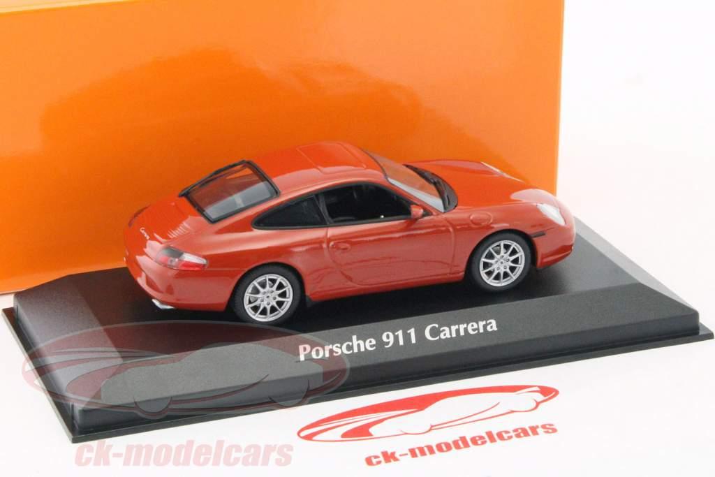 Porsche 911 Carrera coupe anno di costruzione 2001 rosso-arancio metallico 1:43 Minichamps