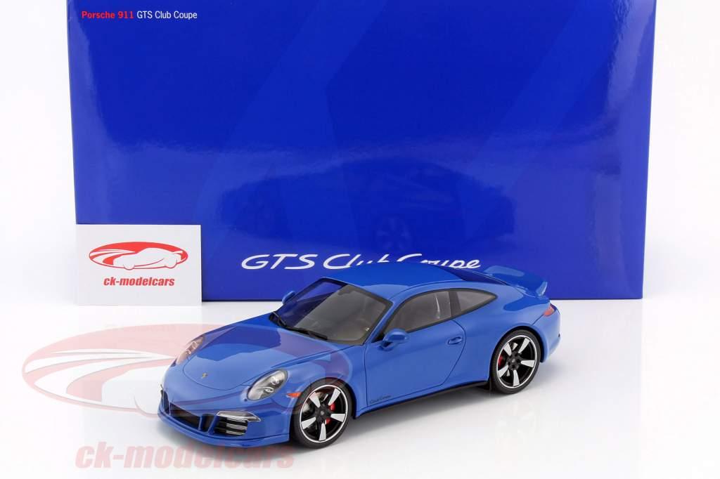 Porsche 911 (991) GTS Club Coupe Baujahr 2015 blau mit Vitrine 1:18 GT-SPIRIT