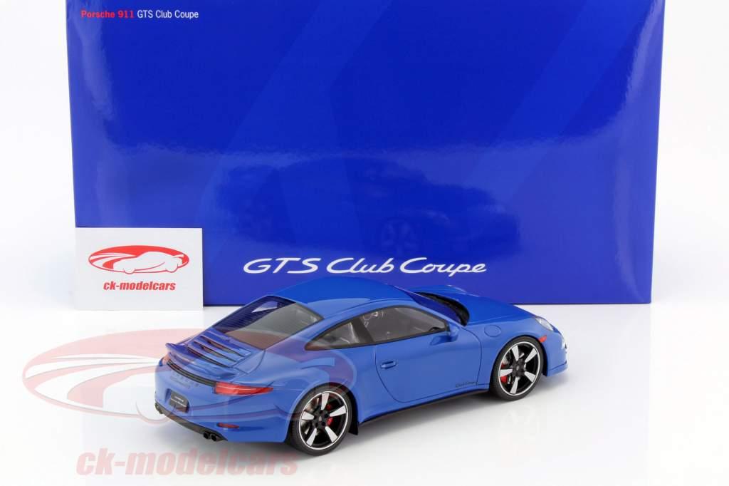 Porsche 911 (991) GTS Club Coupe Ano 2015 azul com Mostruário 1:18 GT-SPIRIT