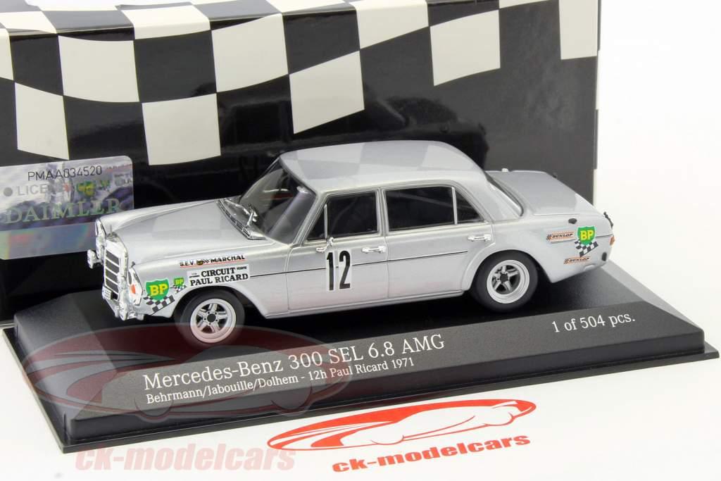 Mercedes-Benz 300 SEL 6.8 AMG #12 12h Paul Ricard 1971 1:43 Minichamps