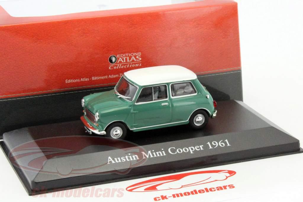 Austin Mini Cooper year 1961 green / white 1:43 Atlas