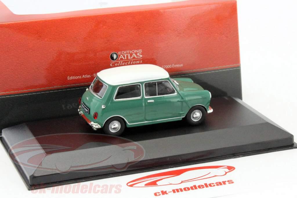 Austin Mini Cooper Bouwjaar 1961 groen / wit 1:43 Atlas