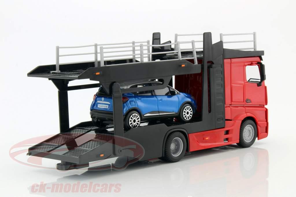 Mercedes-Benz Actros Autotransporter mit Renault Captur rot / schwarz / blau / weiß 1:43 Bburago