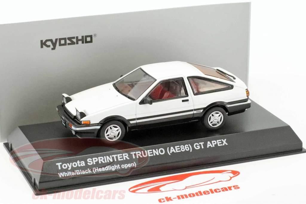 Toyota Sprinter Trueno (AE86) Headlights up weiß / schwarz 1:43 Kyosho
