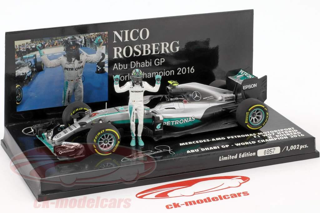 Nico Rosberg Mercedes F1 W07 Hybrid #6 Abu Dhabi GP World Champion F1 2016 With figure 1:43 Minichamps