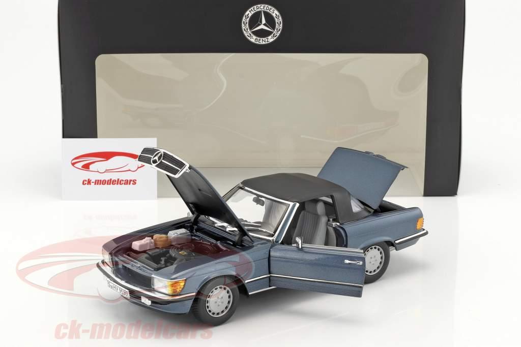 Mercedes-Benz 300 SL (R107) ano de construção 1985-89 lapis azul metálico 1:18 Norev