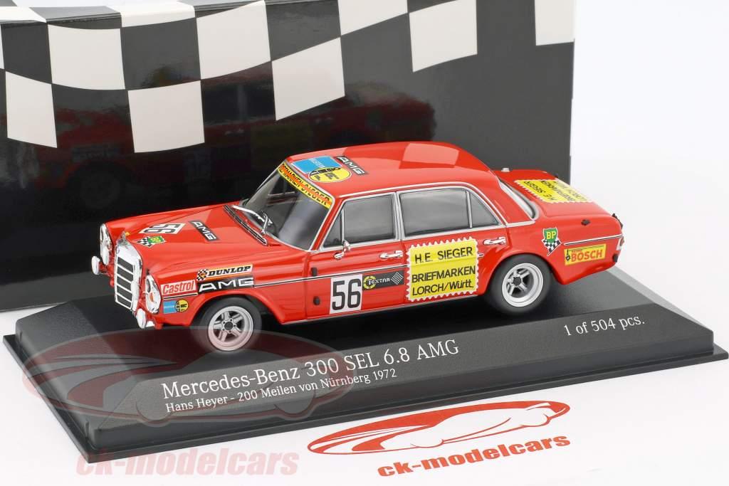 Mercedes-Benz 300 SEL 6.8 AMG #56 200 Meilen Nürnberg 1972 Heyer 1:43 Minichamps