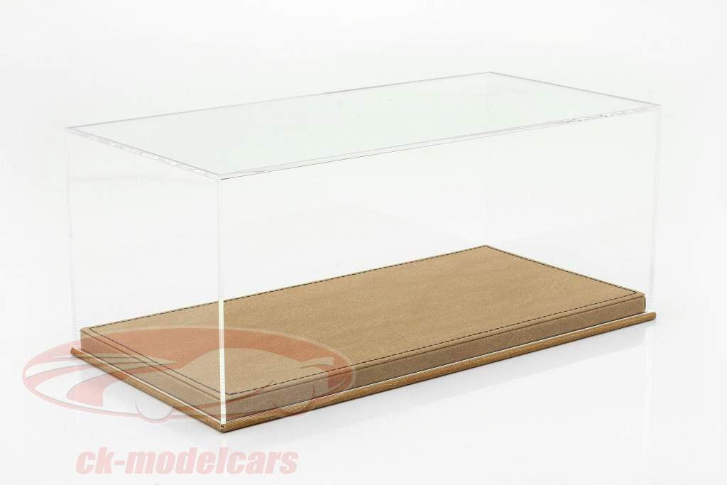 Alta qualidade mostruário com placa de base Fora do couro para modelo carros dentro escala 1:18 bege SAFE